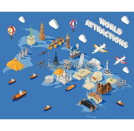 weltbekannte touristische attraktionen isometrische karte plakat