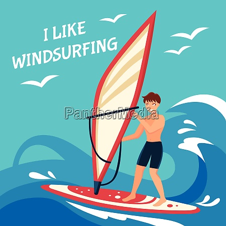 windsurfing flat background windsurfing vector illustration