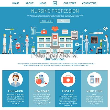pflegeberuf werbelayout mit praesentation von krankenschwesternbildungsfunktionen