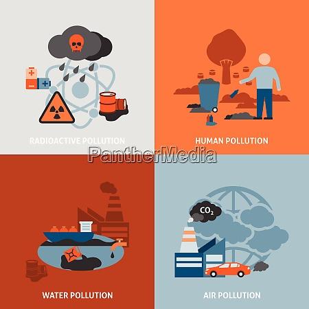 umweltprobleme symbole mit radioaktivem menschlichen wasser