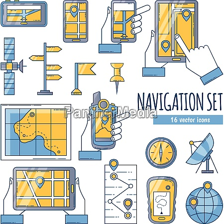 navigation flat color icons set with