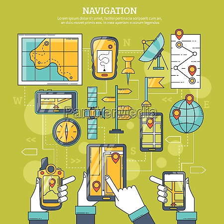 navigation vector illustration with map gps