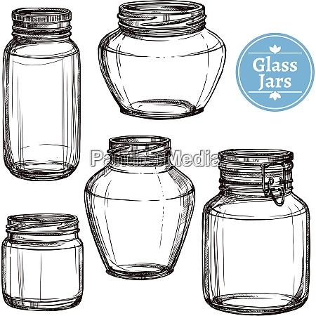 hand gezeichnete alte stil glasglaeser set