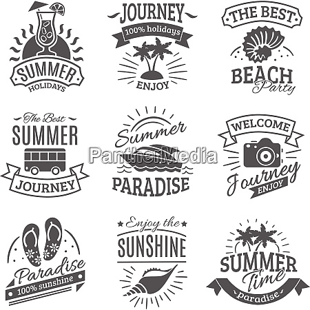 summer holiday travel agencies labels set