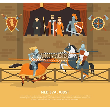 medieval joust vector illustration with knights