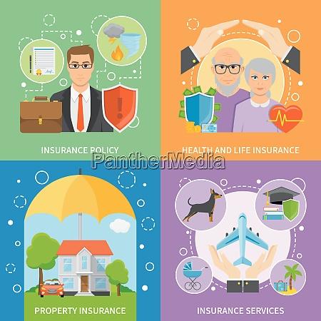 versicherungen, dienstleistungen, flache, symbole, quadratische, zusammensetzung - 27185060