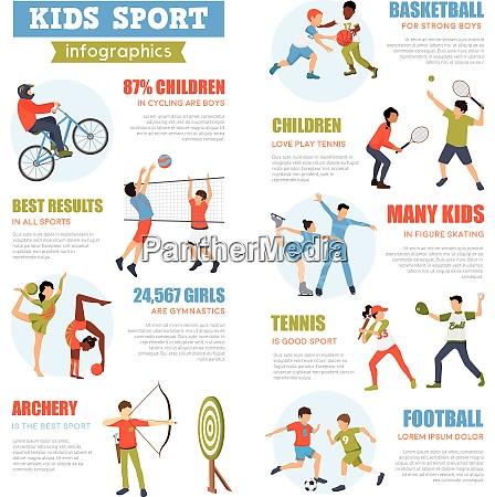 kindersport infografiken set mit trainingskindern in