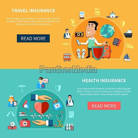 medizin und reiseversicherung horizontale banner mit