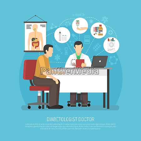 diabetes treatment vector illustration with patient