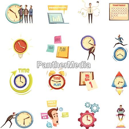 time management set of retro cartoon