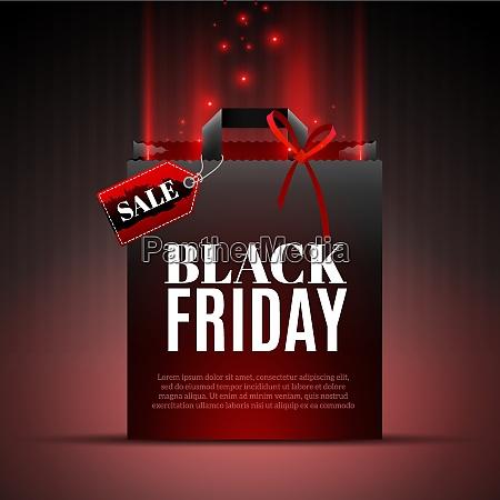 black friday verkauf vorlage mit einkaufsbox