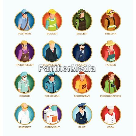 menschen avatar isometrischen satz von verschiedenen