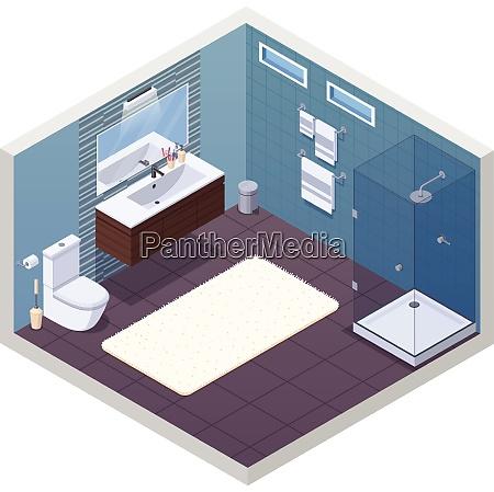 badezimmer isometrischen innenraum mit glaenzenden dusche