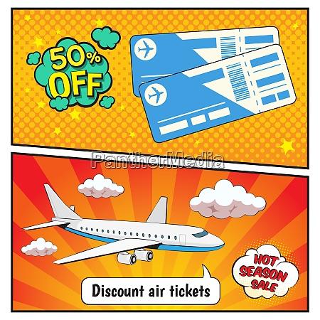 rabatt luft tickets comic stil banner