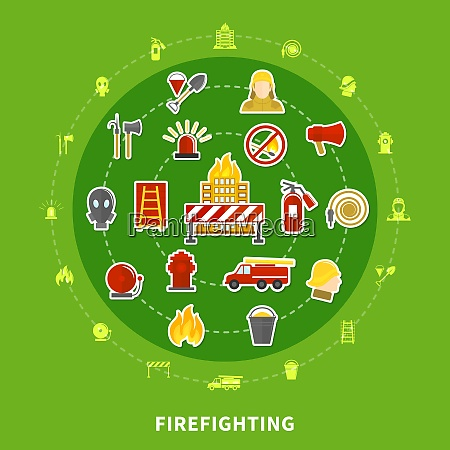 flat design concept with various firefighting