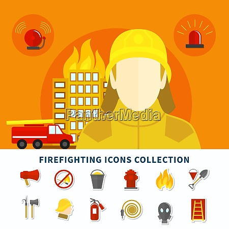 burning building fireman and firefighting icons