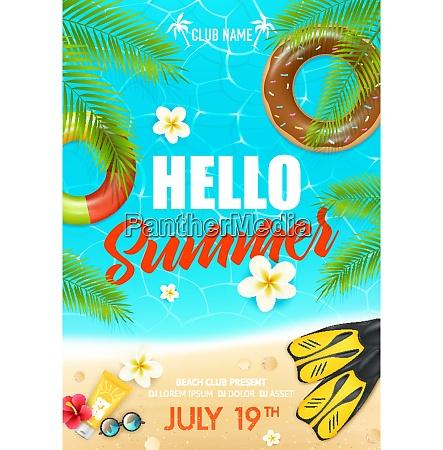 tropical summer vacation beach club colorful