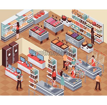 supermarkt mit menschen lebensmitteltrinken und elektronik