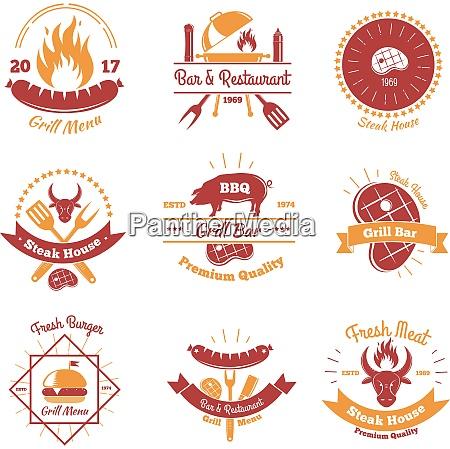 steakhouse vintage embleme set von neun