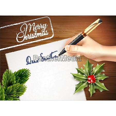 farbige weihnachten brief illustration mit derhand
