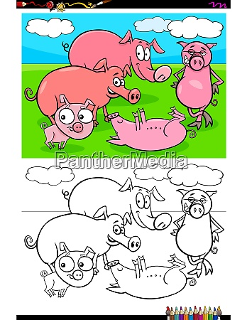 funny pigs animal characters group color
