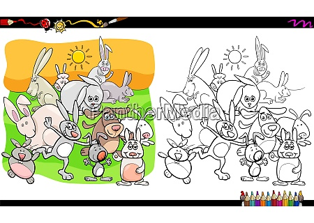 funny rabbits animal characters coloring book