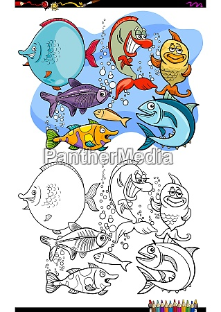 happy fish animal characters group color