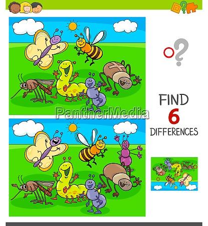 finden unterschiede spiel mit insekten tiere