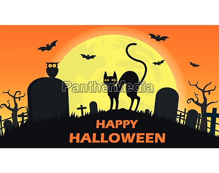 halloween background with cat devil in