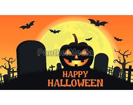 halloween background with smile pumpkin devil