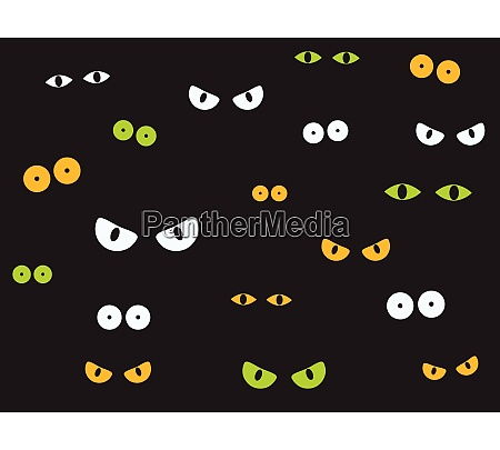 vector illustration spooky eyes in the