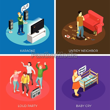 neighbors relations isometric design concept with