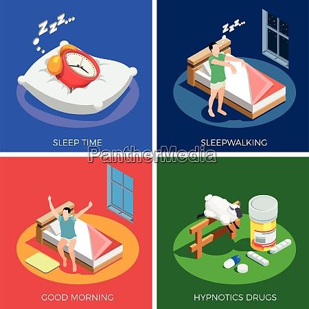 sleep time isometric design concept with