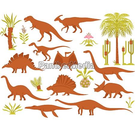 dino mesozoic AEra flora gesetzt mit