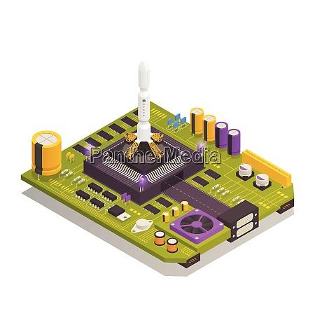 halbleiter elektronikkomponenten die auf leiterplatten montiert