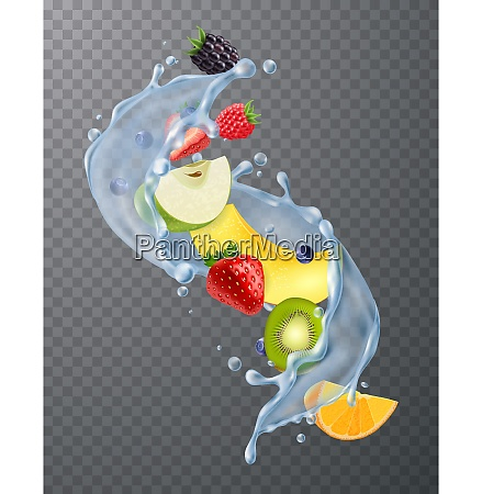 realistic water splash with fresh strawberries