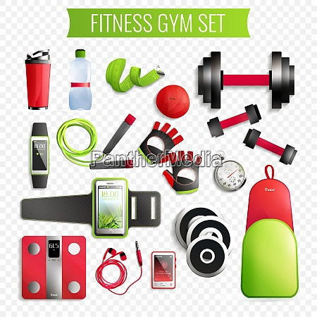 fitness gym transparent realistic set with