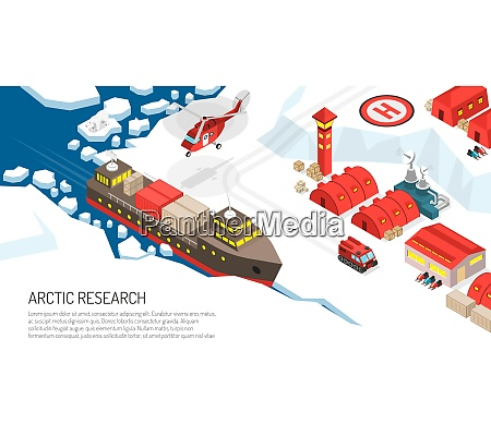 arktis forschung polarstation siedlung isometrische plakat