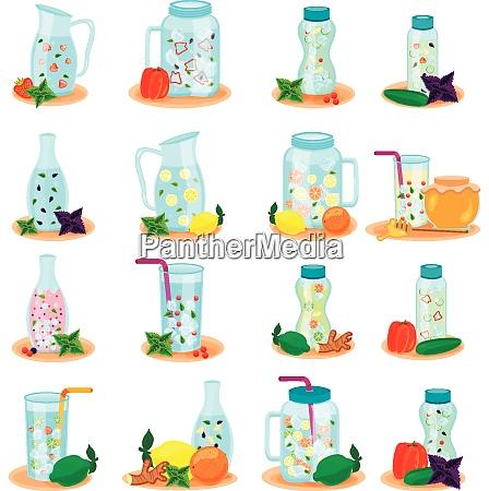 detox water in drink bottles jar