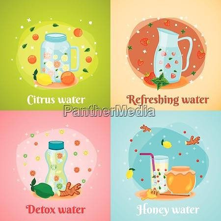 citrus honey fruits infused detox water