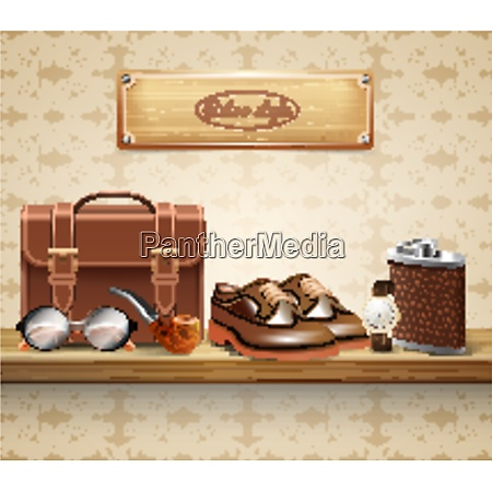 classic retro style real leather gentleman