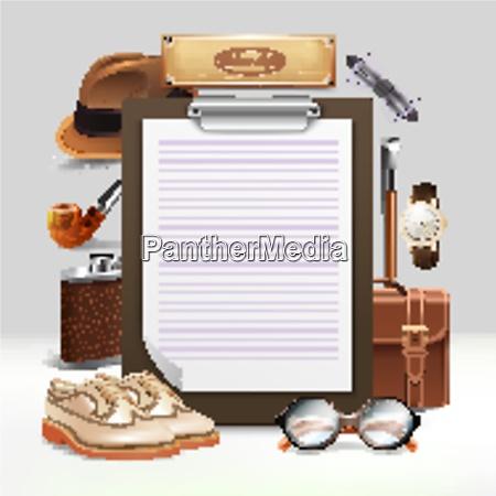 classic retro gentleman accessories realistic clipboard