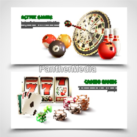 two horizontal games realistic banner set