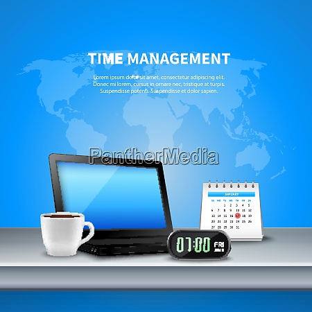 blue time management realistic composition the