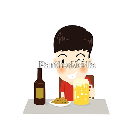 cartoon a happy man character drinks