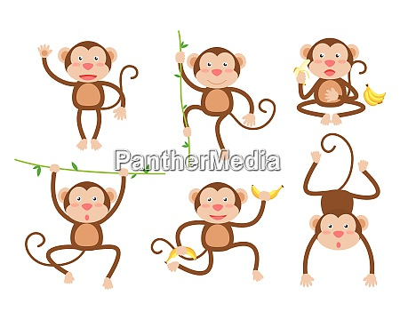 cute little monkeys cartoon vector set