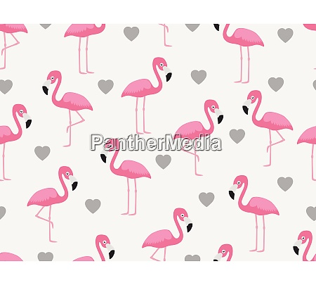 seamless pattern of flamingo with heart