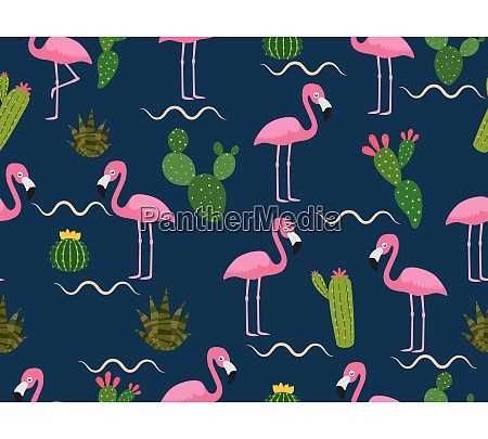 seamless pattern of pink flamingo with