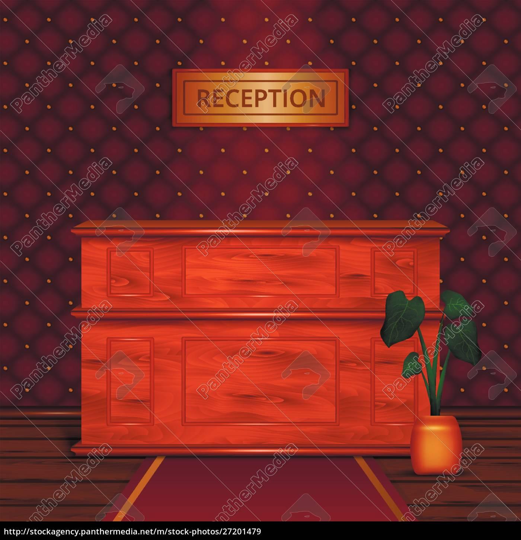 luxus-hotel, rezeption, holz, rezeption, im, antiek-stil - 27201479