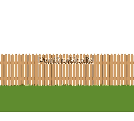 seamless of wooden fence and green
